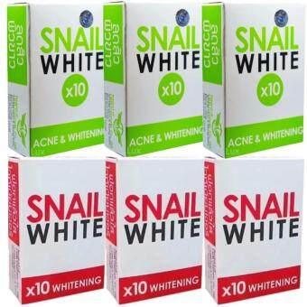 Snail White x10 Acne (สีเขียว3ก้อน) + Whitening Soap (สีชมพู3ก้อน) สบู่กลูต้าหอยทาก สเนลไวท์