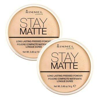 Rimmel Stay Matte Pressed Powder เนื้อบางเบา สูตรควบคุมความมัน #001Transparent 14g (2 ตลับ)
