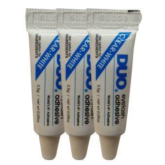 Duo กาวติดขนตา Eyelash Adhesive 2.5g. ติดได้ทนนาน กันน้ำ กันเหงื่อ #Clear-White (3 หลอด)