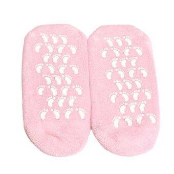 1 คู่สีชมพูอ่อนนุ่มชุ่มชื้นรักษาผิวแตกซ่อมถุงเท้าเจลสปา