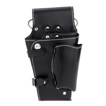 สีดำเอวแพ็คสำหรับแต่งผมกระเป๋าเครื่องหนังกรรไกรหวี