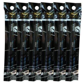 Mee Maxblack Felt-tip Liquid Eyeliner สีดำสนิท X10 ปากาเขียนขอบตาเบบลิควีด นวั๖กรรมใหม่ล่าสุดจากเกาหลี หัวฟองน้ำปลายเรียวเล็ก เขียนง่าย แห้งเร็ว ติดทนนาน 24 ชั่วโมง (6 แท่ง)