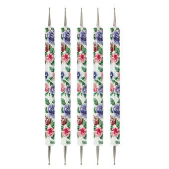 5ชิ้น ชุดเครื่องมือปากกาเพ้นท์ลายดอกไม้ 2หัวแต่งแต้มลาย Dot