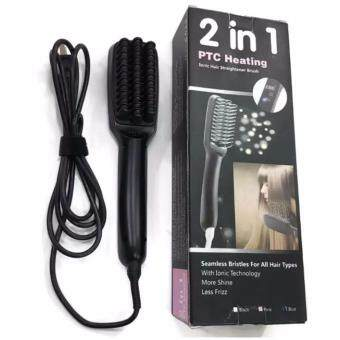 2 In 1 LCD PTC Heating + Lonic Electric Fast Hair หวีไฟฟ้าไอโอนิค 2 In 1 สีดำ