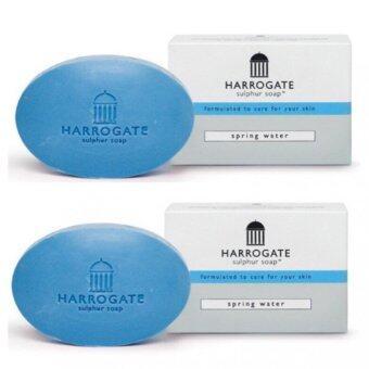 HARROGATE Soap สบู่น้ำแร่ สีฟ้า x 2 ก้อน spring water ลดสิว ผิวติดสาร ผดผื่นคัน ควบคุมความมัน