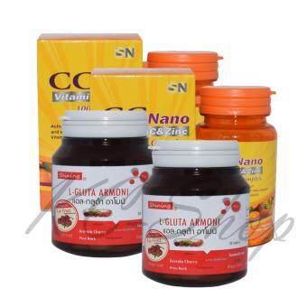 Shining L-Gluta Armoni แอล-กลูต้า อาโมนิ 30 เม็ด + CC Nano Vitamin C & Zinc 1000 Complex 30 เม็ด 2 ชุด