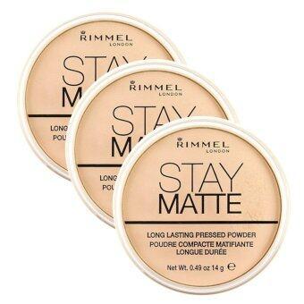 Rimmel Stay Matte Pressed Powder เนื้อบางเบา สูตรควบคุมความมัน #001Transparent 14g (3 ตลับ)
