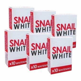 Snail White Soap x10 Whitening 6ก้อน แถม ใยบวบธรรมชาติ มูลค่า 99บาท
