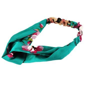 Harga Vanker-High Quality Practical Yoga Elastic Turban Floral Pattern Twisted Knotted Hair Band For Women Lady Girls(#1) - intl