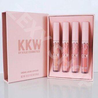 StyleKKW Creme Liquid Lipstick ลิปจิ้มจุ่ม 4 แท่ง สีนู้ด กล่องสีชมพูพาสเทล