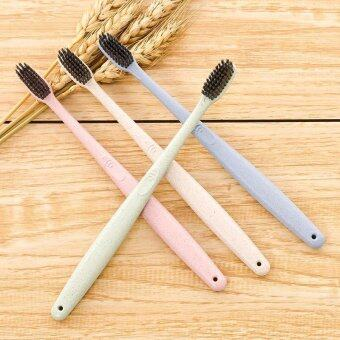Harga Wheat Straw Toothbrush Health Bristle Antibacterial Toothbrush Adult Clean Care Travel Accessories-Beige - intl