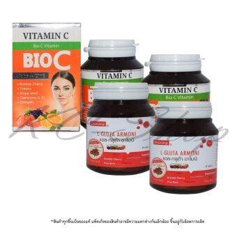 Shining L-Gluta Armoni แอล-กลูต้า อาโมนิ 30 เม็ด + BIO C Vitamin Alpha+Zinc 1,500 mg 30 เม็ด x 2 ชุด
