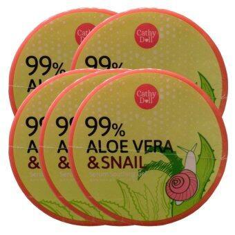 Cathy Doll Aloe vera & snail serum soothing gel ช่วยปลอบประโลมผิวกร้าน ขาดการบำรุงให้กลับมาสดใสมีชีวิตชีวา 300g (5 กระปุก)