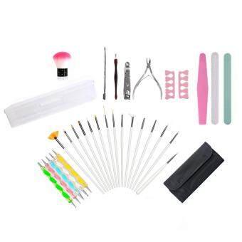 Leegoal 32ชิ้นเซ็ตแปรงเล็บตะไบเล็บปากกาปากกาคั่นแต่งแต้มปลายส้อมไม้ขัดผิวบล็อก