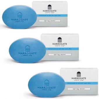 HARROGATE Soap สีฟ้า x 3 ก้อน กลิ่นน้ำแร่ สดชื่น spring water ลดสิว ผิวติดสาร ผดผื่นคัน ควบคุมความมัน