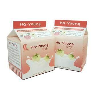 แพคคู่ Ha-Young Soap สบู่ฮายัง สบู่นมฟอกผิวขาว ลดรอยแตกลาย ปราบผิวดำ 70g.