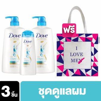 'DOVE Shampoo Volume Norishment Light Blue (680 ml) [2 Bottles] and DOVE Shampoo Volume Norishment Light Blue (170 ml) ฟรี กระเป๋า Tote Bag Exclusive @ Lazada (ลาย Me)