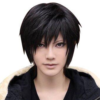 ชายหนุ่มทนความร้อนแฟชั่นสั้นไปคอสเพลย์ Anime เต็มวิกสีดำ