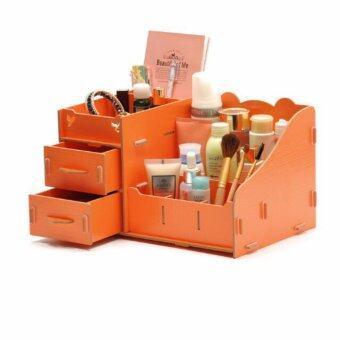 DIY Wooden Cosmetic Box (WD03 สีส้ม) กล่องเก็บเครื่องสำอาง เครื่องประดับ