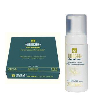 Endocare Set F Endocare SCA 50 DNA พลาสติก 10 หลอด +Endocare Aquafoam Cleansing Wash โฟมทำความสะอาดผิวหน้า 125 ml.