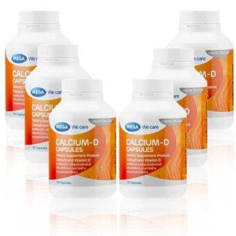 Mega We Care CALCIUM-D (90 แคปซูล) x ( 6 ขวด) ช่วยป้องกันโรคกระดูกพรุน,สร้างกระดูก