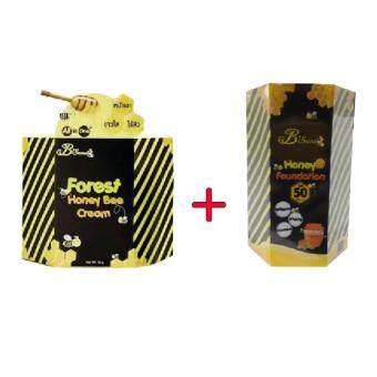 B'Secret Forest Honey Bee Cream ครีมน้ำผึ้งป่า 15 กรัม( 1 กล่อง ) + B'Secret Honey Foundation W2M SPF 50 PA++ กันแดดละลายได้ 20 กรัม( 1 กล่อง )