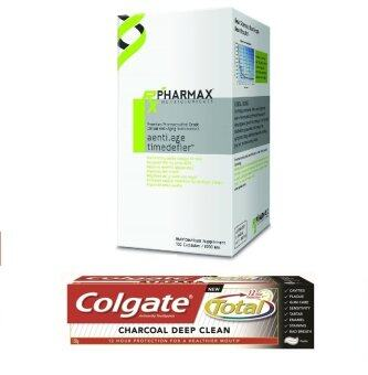 Pharmax Aenti.age Timedefier (100 แคปซูล) + Colgate Charcoal deep clean 150g (1 หลอด)