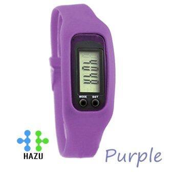 HAZU นาฬิกานับก้าวเดิน HAZU W2 วัดแคลอรี่ วัดระยะทางกิโลเมตร เครื่องนับก้าว (สีม่วง) DigitalLCD Pedometer Run-Step Walking Distance Calorie Counter