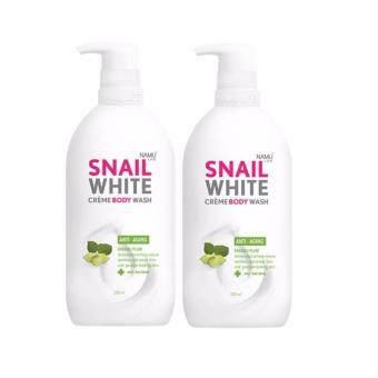 Snail White Cream Body Wash ครีมอาบน้ำสูตร ANTI-AGING ลดเลือนริ้วรอย 2ขวด(500 ml)