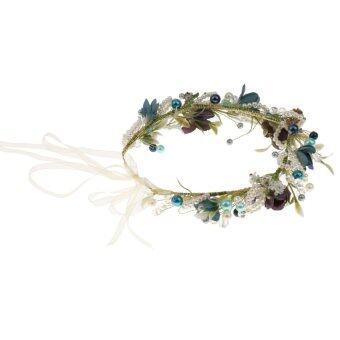 Phenovo มงกุฎดอกไม้มุกคาดลายสกรีนงานหาด Garland สีน้ำเงิน