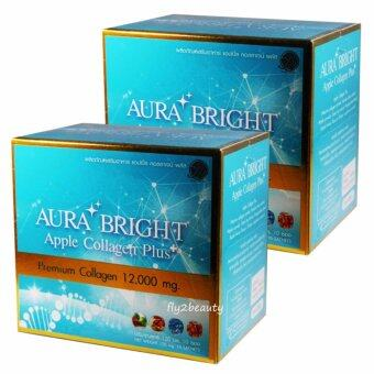 Aura Bright Apple Collagen Plus Premium Collagen 12,000 mg. ออร่า ไบรท์ แอปเปิ้ล คอลลาเจน พลัส อาหารเสริมบำรุงผิว ขาว เนียน ใส ออร่า หน้าเด็ก ขนาด 10 ซอง (2 กล่อง)