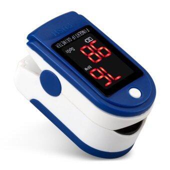 ชีพจรออกซิเจนอิ่มตัวปลายนิ้วเลือด Oximeter SpO2 ดิจิตอลพีอาร์พีตัววัดอัตราการเต้นของหัวใจสีน้ำเงิน
