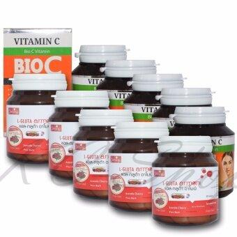 Shining L-Gluta Armoni แอล-กลูต้า อาโมนิ 30 เม็ด + BIO C Vitamin Alpha+Zinc 1,500 mg 30 เม็ด x 5 ชุด