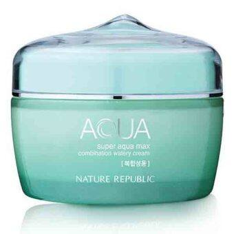 ของแท้นำเข้าจากเกาหลี 100% : Nature Republic Super Aqua max Combination Watery Cream 80 ml - Green