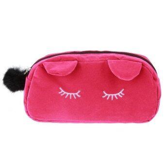 แมวกระเป๋าเครื่องสำอางกระเป๋าถือโทรศัพท์มือถือเคสกราะเป๋าสตางค์แต่งหน้ากระเป๋าน่ารักบ้านไอร์เหรียญ (เร่าร้อนสีชมพู)