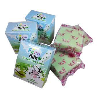 Fern milk Green Tea Soap สบู่น้ำนม ผสมสารสกัดจากชาเขียว 65g (3 ก้อน)