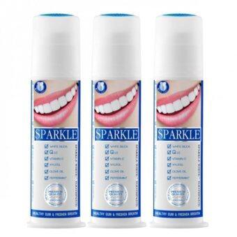 Sparkleยาสีฟันสปาร์คเคิลWhite Toothpasteแบบขวดปั๊ม ขนาด100กรัม(แพ็ค3ขวด)