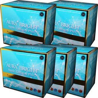 Aura Bright Apple Collagen Plus ออร่าไบรท์ แอปเปิ้ลคอลลาเจน เพื่อผิวเนียนใส 12,000mg. (5 กล่อง)