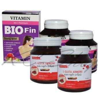 Shining L-Gluta Armoni แอล-กลูต้า อาโมนิ 30 เม็ด + Bio Fin Vitamin 3in1 Premium ไบโอ ฟิน วิตามิน อาหารเสริมสำหรับผู้หญิง 30 เม็ด x 2ชุด