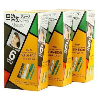 Paon Hair Color เปลี่ยนสีผม พาออน เซเว่น เอท Color 6 สีน้ำตาลเข้ม (แพ็ค3กล่อง)
