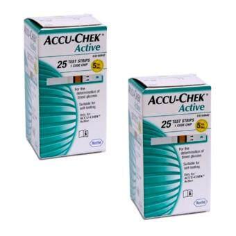 AccuChek Active Test Strips แถบตรวจระดับน้ำตาล แอคทีฟ (25 ชิ้น/กล่อง) 2 กล่อง