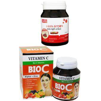 Shining L-Gluta Armoni & Bio C Vitamin C แอล-กลูต้า อาโมนิ สูตรใหม่เพิ่ม Red Fruit แพคคู่ ขาว x 2 กับไบโอซี วิตามินซี อาหารเสริมเร่งผิวขาว สูตรใหม่ ขาวใสมากกว่าเดิม บรรจุ 30 เม็ด (อย่างละ 1 กระปุก)