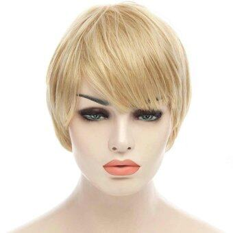 Harga Mixed Color Short Straight Full Bang Fashion Spiffy Capless Women's Real Natural Human Hair Wig - Intl