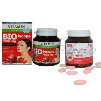 Shining L-Gluta Armoni แอล-กลูต้า อาโมนิ 30 เม็ด + BIO Lycope 1300 mg. ไบโอ ไลโคปิน อาหารเสริมบำรุงผิว ออร่า ด้วยสารสกัดจากราชินีผลไม้นานาชนิด 30 เม็ด x 1ชุด