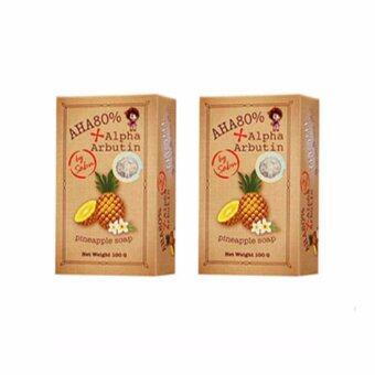 AHA 80% Alpha Arbutin Pineapple Soap Skin สบู่ระเบิดความขาว สูตรสับปะรด 100 กรัม by Sabu (2ก้อน)