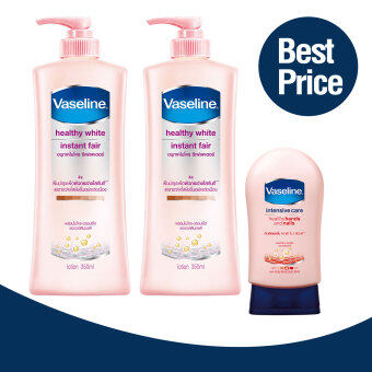 Harga Vaseline Healthy White Instant Fair Lotion 350 ml X2 + Vaseline Healthy Hands Nails Conditioning 85 ml