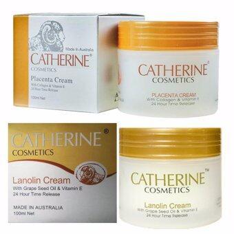 ครีมรกแกะ Catherine Placenta Cream with Collagen & Vitamin E ชุดคู่ ครีมรกแกะ Catherine Lanolin Cream
