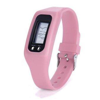 HAZU นาฬิกานับก้าวเดิน HAZU W2 วัดแคลอรี่ วัดระยะทางกิโลเมตร เครื่องนับก้าว (โทนสีชมพูอ่อน) DigitalLCD Pedometer Run-Step Walking Distance Calorie Counter