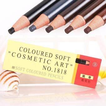 (12 pcs) #03 Dark Brown Coloured Soft Cosmetic Art Eyebrow Pencil ดินสอเขียนคิ้วดึงเชือก