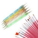 ชุด 15ชิ้นทาเล็บเล็บแปรงทาสีพู่กันวาดรายละเอียด+5ชิ้นแต่งแต้ม Marbleizing ปากกาสีชมพู